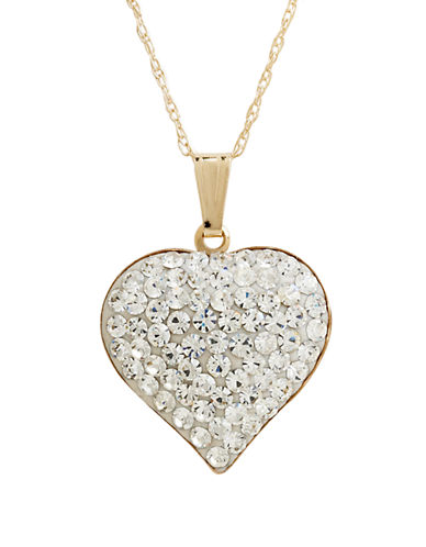Fine Jewellery 14K Yellow Gold Crystal Heart Pendant-CRYSTAL-One Size