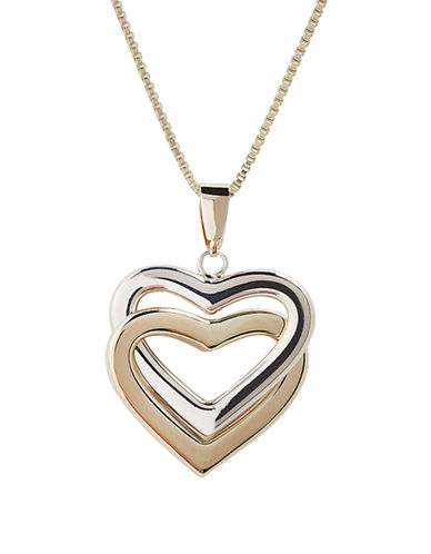 Fine Jewellery 14K Yellow Gold And Sterling Silver Interlocking Heart Pendant-AURAGENTO (SILVER/GOLD)-One Size