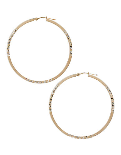 Fine Jewellery 14K Yellow Gold And Sterling Silver Satin Hoop Earrings-AURAGENTO (SILVER/GOLD)-One Size