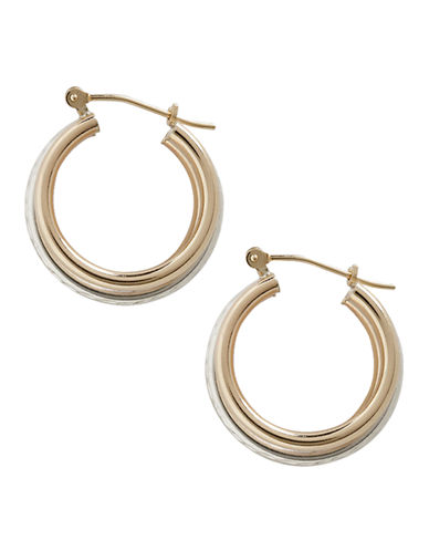 Fine Jewellery 14K Yellow Gold And Sterling Silver Diamond Cut Triple Hoop Earrings-AURAGENTO (SILVER/GOLD)-One Size