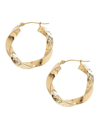 Fine Jewellery 14K Yellow Gold And Sterling Silver Triangle Twist Hoop Earrings-TWO TONE-One Size