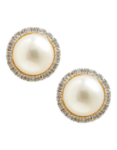 Fine Jewellery 10K Yellow Gold Diamond And 8mm Pearl Earrings-PEARL-One Size
