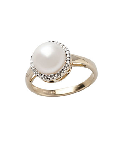 Fine Jewellery 10K Yellow Gold  Diamond And 9mm Freshwater Pearl Ring-PEARL-7