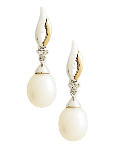 Fine Jewellery 14K Yellow Gold Sterling Silver Diamond and Ball Drop 8mm Pearl Earrings-PEARL-One Size
