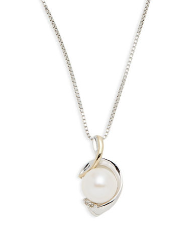 Fine Jewellery Sterling Silver and 14K Yellow Gold Pearl and Diamond Pendant Necklace-TWO TONE COLOUR-One Size