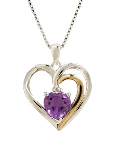 Fine Jewellery Sterling Silver 14K Yellow Gold Diamond And Amethyst Heart Necklace-AMETHYST-One Size