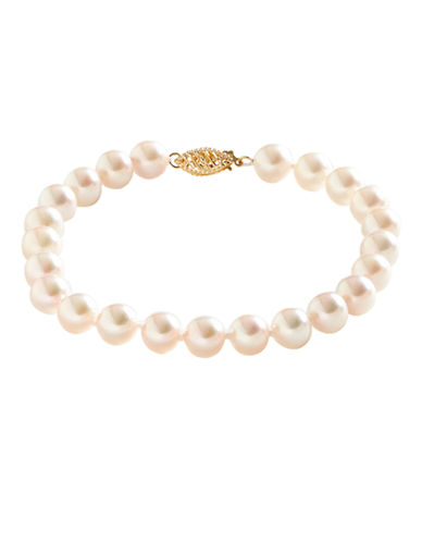 Fine Jewellery 14K Yellow Gold Akoya Pearl Bracelet-PEARL-One Size