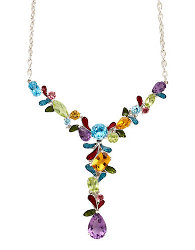 Town & Country Sterling Silver Mosaic Necklace-MULTI SEMI PRECIOUS STONE MIX-One Size