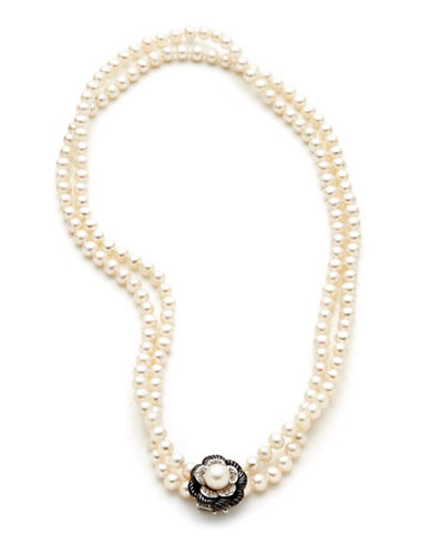 Town & Country Sterling Silver Diamond And Freshwater Pearl Necklace-PEARL-One Size