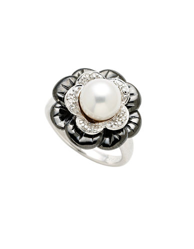 Town & Country Sterling Silver  Diamond And Freshwater Pearl Flower Ring-PEARL-7