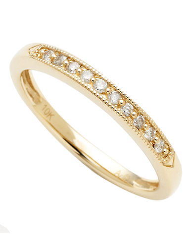 Fine Jewellery 10K Yellow Gold 0.10ct Diamond Ring-YELLOW GOLD-7