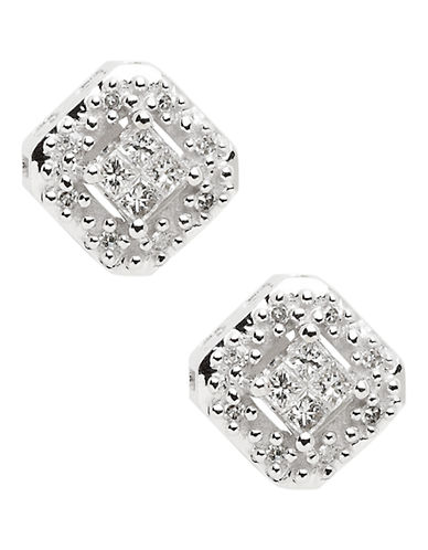 Fine Jewellery 14K Rhodium Plated White Gold Square Diamond Earrings-DIAMOND-One Size