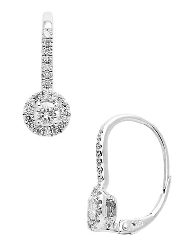 Fine Jewellery 14K Rhodium Plated White Gold Diamond Leverback Earrings-DIAMOND-One Size