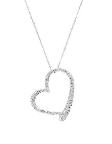 Fine Jewellery 14K White Gold Diamond Heart Pendant-DIAMOND-One Size