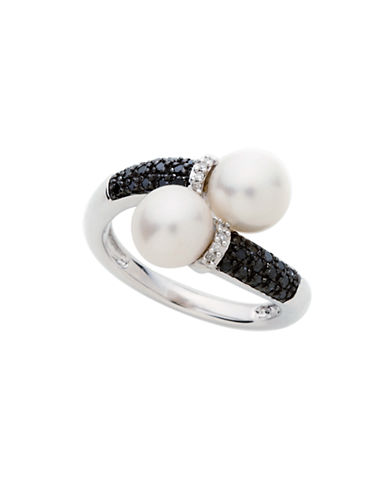 Town & Country Sterling Silver  Diamond And Freshwater Pearl Ring-PEARL-7