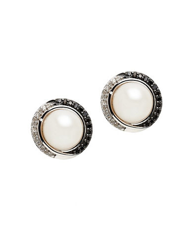 Town & Country Sterling Silver Black And White 8mm Freshwater Pearl Earrings-PEARL-One Size