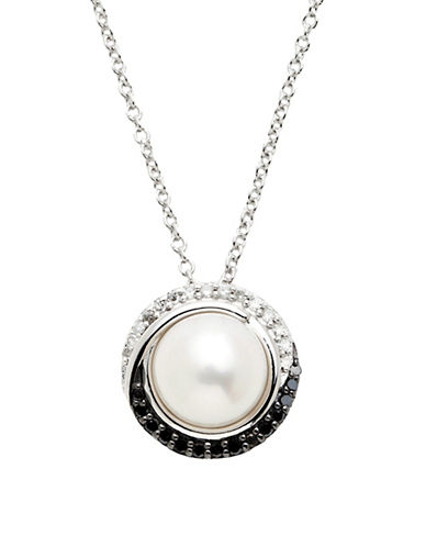 Town & Country Sterling Silver Black And White Diamond And Freshwater Pearl Necklace-PEARL-One Size