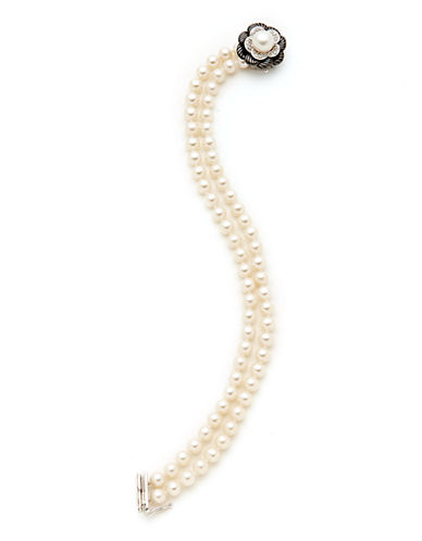 Town & Country Sterling Silver  Diamond And Pearl Black And White Flower Bracelet-PEARL-One Size