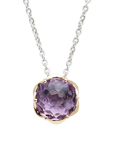 Town & Country Sterling Silver  14K Yellow Gold And Amethyst Brazilliance Pendant-AMETHYST-One Size