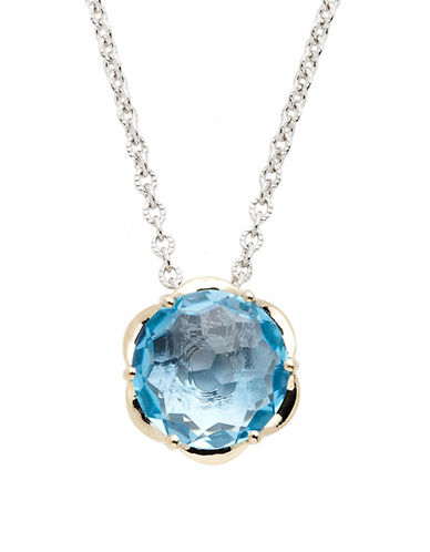 Town & Country Sterling Silver 14K Yellow Gold And Blue Topaz Brazilliance Pendant-TOPAZ-One Size