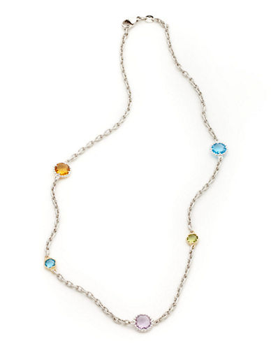 Town & Country Sterling Silver 14K Yellow Gold And Multi Coloured Gemstone Necklace-GOLD-One Size
