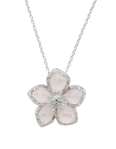 Town & Country Sterling Silver  Diamond And Rose Quartz Brazilliance Flower Pendant-DIAMOND-One Size