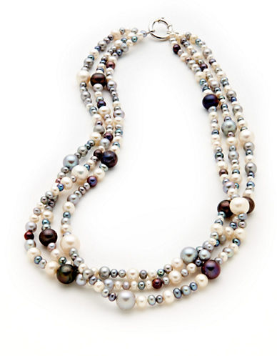 Fine Jewellery Sterling Silver Three Strand Multi Coloured Pearl Necklace-MULTI COLOURED-One Size