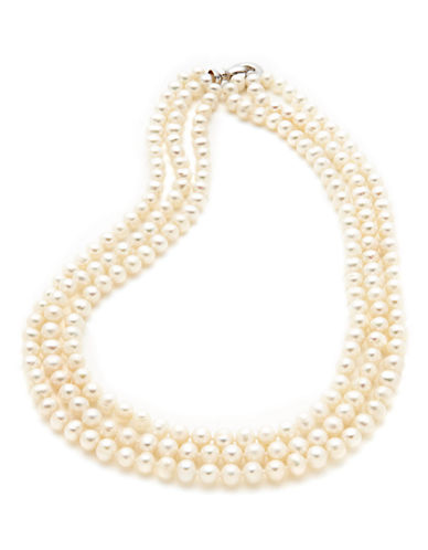 Fine Jewellery Sterling Silver Three Strand 6mm Pearl Necklace-PEARL-One Size