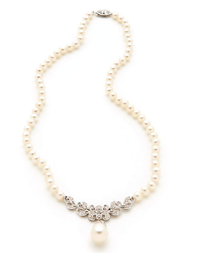 Fine Jewellery Sterling Silver Diamond And Freshwater Pearl Necklace-PEARL-One Size