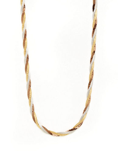 Fine Jewellery 14K Tri Colour Gold Braid Neckchain-TRI COLOUR GOLD-One Size
