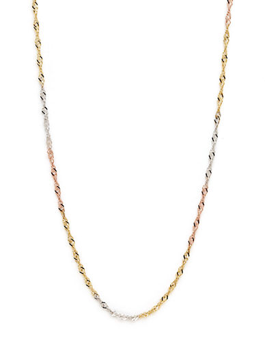 Fine Jewellery 14K Tri Colour Small Singapore Chain Necklace-TRI COLOUR GOLD-One Size