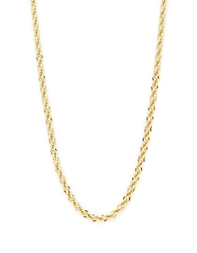 Fine Jewellery 14K Yellow Gold Diamond Cut Hollow Link Chain Necklace-YELLOW GOLD-One Size