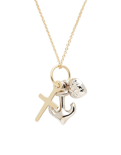 Fine Jewellery 14K Two Tone Gold Faith  Hope And Charity Pendant-YELLOW GOLD/WHITE GOLD-One Size