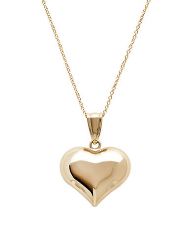 Fine Jewelry 14K Yellow Gold Polished Puffed Heart Necklace Oy4D0Thc