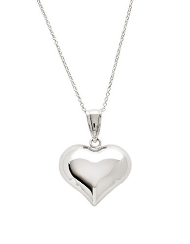 Fine Jewellery 14K White Gold Polished Puffed Heart Pendant-WHITE GOLD-One Size