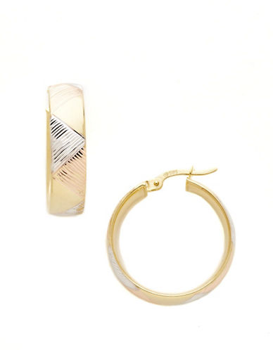 Fine Jewellery 14K Tri-Colour Gold Hoops-TWO TONE GOLD-One Size