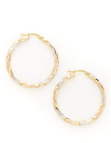 Fine Jewellery 14K Tri Colour Gold Twist Tube Hoop Earrings-TRI COLOUR GOLD-One Size