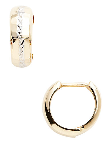 Fine Jewellery 14K Yellow And White Gold Diamond Cut Huggie Hoop Earrings-GOLD-One Size