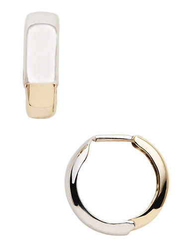 Fine Jewellery 14K Yellow And White Gold Reversible Huggie Hoop Earrings-TWO TONE GOLD-One Size