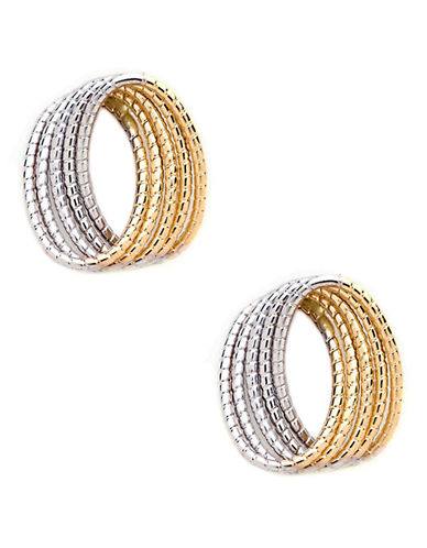 Fine Jewellery 14K Yellow And White Gold Knot Earrings-TWO TONE GOLD-One Size