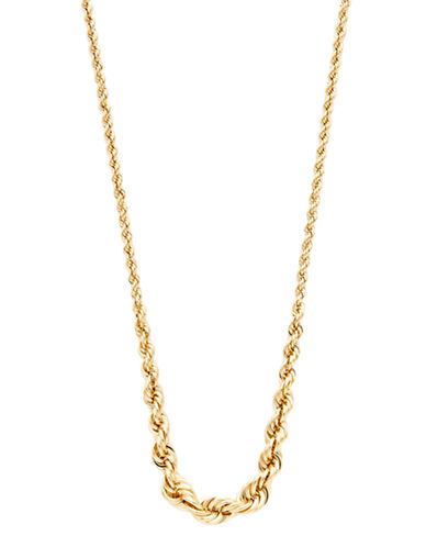 Fine Jewellery 14K Yellow Gold Hollow Rope Chain Necklace-YELLOW GOLD-One Size