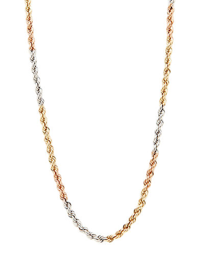 Fine Jewellery 14K Tri Colour Gold Hollow Rope Chain Necklace-TRI COLOUR GOLD-One Size