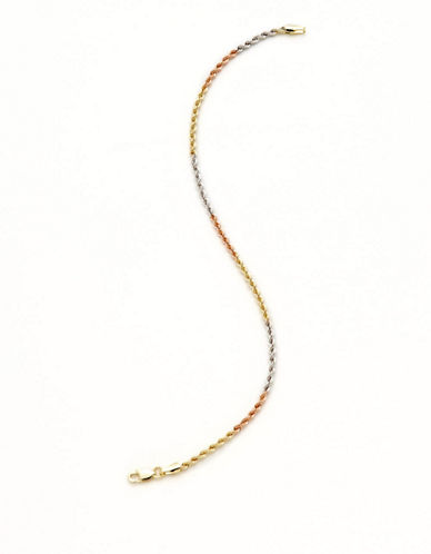 Fine Jewellery 14K Tri Colour Gold Hollow Rope Chain Bracelet-TRI COLOUR GOLD-One Size