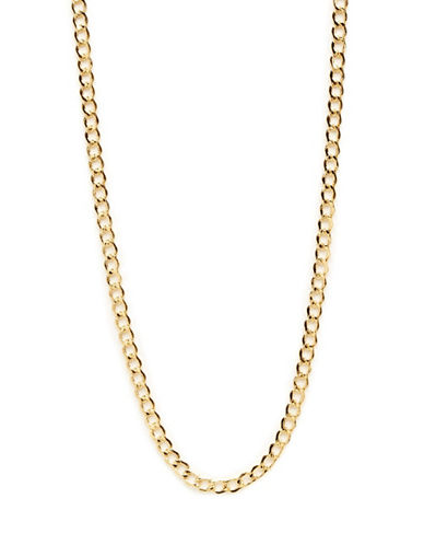 Fine Jewellery 10K Yellow Gold Bevelled Curb Chain Necklace-YELLOW GOLD-One Size