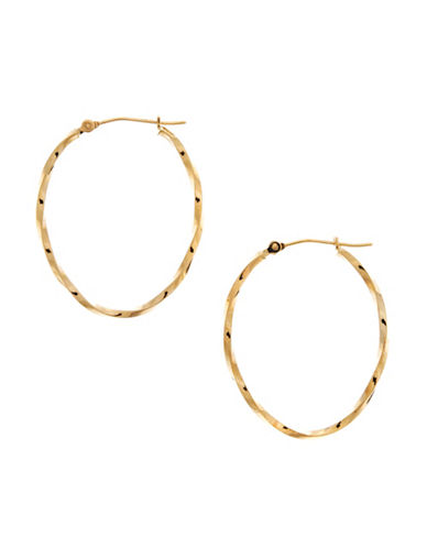 Fine Jewellery 14Kt Yellow Gold 1.9x25x32mm Polished Oval Shaped Hollow Twisted Tube Hoops-YELLOW GOLD-One Size