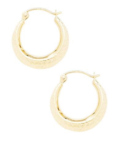 Fine Jewellery 14K Yellow Gold Diamond-Cut Hollow Back To Back Hoop Earrings-GOLD-One Size