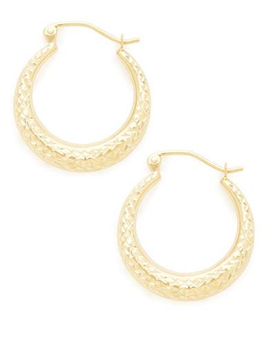 Fine Jewellery 14K Yellow Gold Diamond Cut Hollow Hoop Earrings-GOLD-One Size