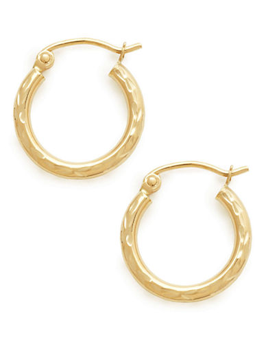 Fine Jewellery 14Kt Diamond cut Tube Hoops-GOLD-One Size