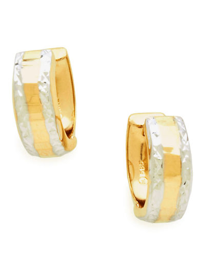 Fine Jewellery 14K Yellow And White Gold Diamond Cut Huggie Hoop Earrings-YELLOW GOLD/DIAMOND-One Size