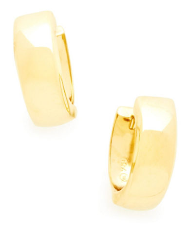 Fine Jewellery 18K Yellow Gold High Polished Huggie Hoops-YELLOW-One Size